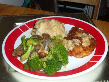 Chicken, Mashed Potatoes, Broccoli, Mushrooms w Gravy